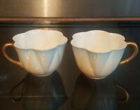 Antique Foley Small Blue And Beige Dainty Pattern Cups- 1892-1925