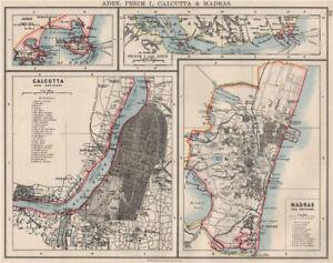 BRITISH INDIA CITIES.Calcutta & Madras plans. Also Aden/Perim.JOHNSTON 1900 map