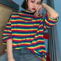 Lady Rainbow Stripe T-shirt Loose Casual Short Sleeve Top Harajuku Fashion Baggy