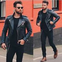 Mens Genuine Lambskin Quilted Leather Biker Motorcycle Slim fit Jacket BNWT