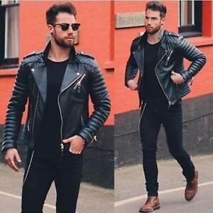 Mens Genuine Lambskin Quilted Leather Biker Motorcycle Slim fit Jacket BNWT