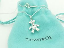 Tiffany & Co Sterling Silver small Teddy Bear Tag Charm Pendant 16 Chane