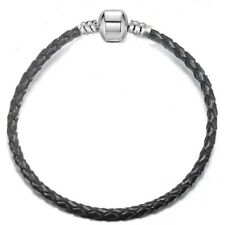 New Genuine Leather Braided Pandora Charm Bracelet Bead Handmade Fashion Jewelry
