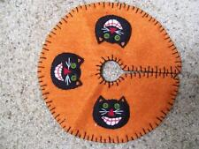 Hand made Flannel Felt Beads Embroider Applique BLACK CAT  HALLOWEEN TREE SKIRT