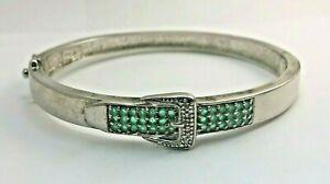 Sterling Silver Emerald Belt Buckle Design Bangle Bracelet