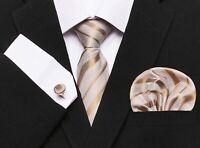 Set Cravate Doré-Beige,7,5cm,Bouton Manchette,Mouchoir,100%Soie,Jacquard,Mode FR