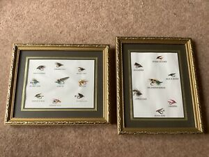 16 Vintage Framed & Mounted Hand Tied Salmon & Trout Flies set in 2 Gold Frames