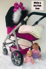 Blanco Gris Childrens Cochecito Piel Muñeca Cochecito Capucha pieles Rosa Universal Muñeca cochecitos