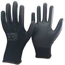 50 PAIRS Of Brand New Black Nylon PU Safety Work Gloves Builders Grip Gardening
