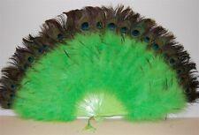 "MARABOU FEATHER FAN - LIME GREEN / Peacock 24"" x 14"" Burlesque/Costume/Halloween"