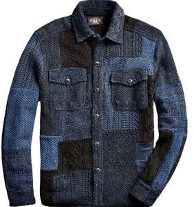 Ralph Lauren RRL Indigo Patchwork Shirt Jacket Large RRP £1125