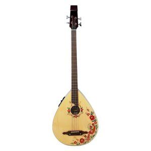 New Ukrainian Folk Electric Guitar Kobza Bass 4 String Electr Pickup Handpainted