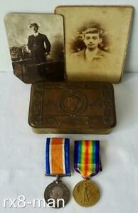 WW1 ARMY MEDAL PAIR TO 95549 GNR WILLS ROYAL ARTILLERY + CHRISTMAS TIN & PHOTOS