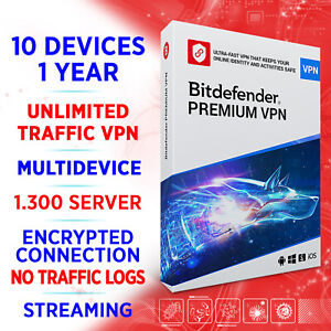 Bitdefender Premium VPN unlimited 2021 10 Geräte 1 Jahr / Win, Mac, Android, iOS