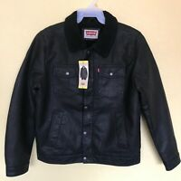 Levis Jeans Red Tab Mens L Black Faux Leather Sherpa Lined Winter Trucker Jacket