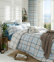 Kelso Duck Egg Checked Duvet Set (choose from single double king or curtains)