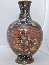 "Antique Japanese Meiji Goldstone Cloisonne Vase with PHOENIX & DRAGON  (7.45"")"