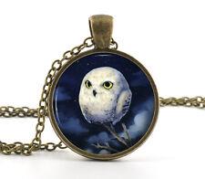 White Owl Pendant Necklace -Vintage Cute Baby Bird Blue Night Art Jewellery Gift