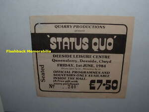 STATUS QUO Concert Ticket Stub 1984 DEESIDE CENTRE QUEENSFERRY U.K. Very Rare