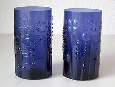 Iittala OIVA TOIKKA Vintage Flora Glasses (2) Dark Blue Excellent Condition