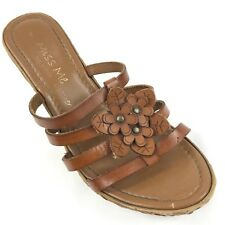 MISS ME WOMEN'S WEDGE FASHION SANDALS BROWN LEATHER MADE IN ITALY US SIZE 7 M