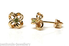 9ct Gold Peridot Knot studs Earrings Made in UK Gift Boxed