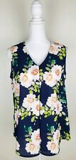 Rose + Olive Medium Sleeveless Top Blue Pink Floral NWT