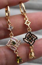 EPIC VAULT-Square Emerald Topaz Peridot Drop Earrings-18K Yellow Gold Filled