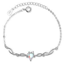 925 Sterling Silver Moonstone Cute Fawn Deer Chain Bracelet Women Jewelry Gift