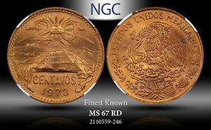 1973-Mo MEXICO 20 CENTAVOS NGC MS67 RD FINEST KNOWN WORLDWIDE