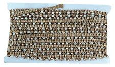 9mtr Lace border trim, stone beaded trm, pearl n gold bead tassle, 1.5cm wide