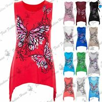 Womens Butterfly Print Sleeveless Waterfall Casual Vest Top Ladies T Shirt 8-26