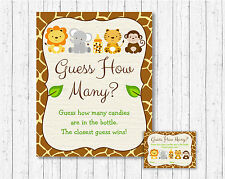"""Cute Jungle Safari Animals Baby Shower """"Guess How Many?"""" Game Cards"""