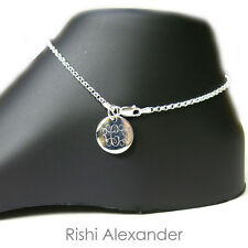 Monogram Personalized Anklet 925 Sterling Silver Rolo