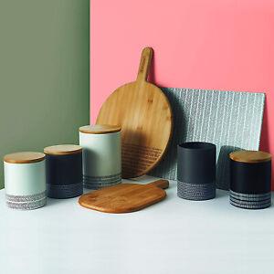 Typhoon Monochrome Steel Jar Tea Coffee Sugar Canisters Pots Biscuit Storage Tin