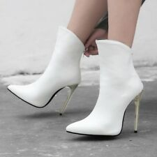 High Stiletto Heels Womens Ankle Boots Metallic Pointy Toe Zipper Casual Shoes