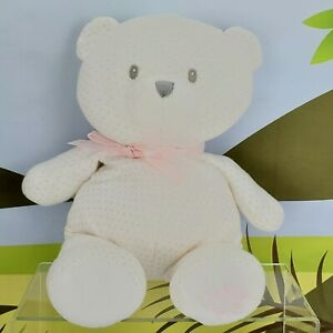 "13"" Little Me Gund White & Pink Polka Dot Plush Teddy Bear Lovey Stuffed Animal"