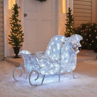 """36"""" 3D LED Lighted Twinkling Sleigh Sculpture Outdoor Christmas Decor"""