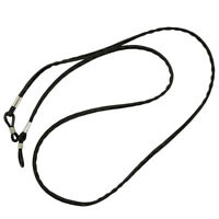 Black Ends Leather Non-slip Eyeglasses Chain Holder Necklace Glasses Strap