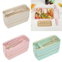 900ml 3Layer Wheat Straw Bento Microwave Food Storage Container Picnic Lunch Box