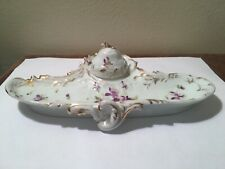 Antique Austrian Porcelain Inkwell  Tray Purple Flowers and Swag