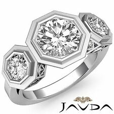 1.84ct Round Diamond 3 Stone Bezel Set Engagement Ring GIA F VVS2 14k White Gold