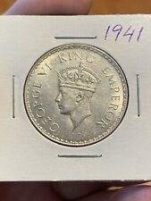 British India One Rupee 1941 Silver Coin, King George 6. Very Lustrous!