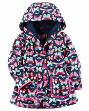 Carter's Baby Girl's Fully Lined Navy Butterfly Print Wind Raincoat 18M NWT