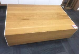 Solid American oak custom made coffee table polyurethane drawers
