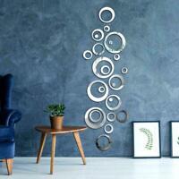 3D SET Circle Mirror Wall Sticker Removable Decal Acrylic Mural Decor DIY Z8M1