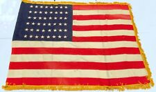 """Antique 48 star wool ceremonial flag with gold fringe 5' 7"""" x 4' 5"""""""