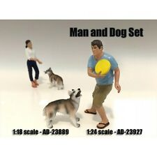 MAN AND DOG 2 PIECE FIGURE SET FOR 1:24 SCALE MODELS BY AMERICAN DIORAMA 23927