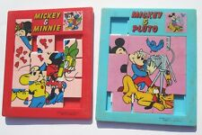 Lot of 2 Vintage Disney Slide Tile Puzzles 1960s Mickey Mouse Pluto Minnie