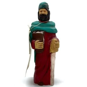 "STUNNING Handpainted ST. PAUL Sculpture Patron Saint Hand-cast Hand Painted 8"""